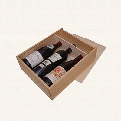 Bild Weinkiste mit Guillotinen fuer drei Flaschen