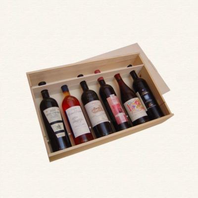 Bild Weinkiste mit Guillotinen fuer sechs Flaschen nebeneinander