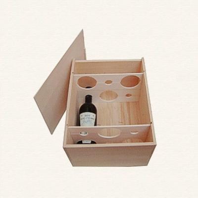Bild Weinkiste mit Guillotinen fuer sechs Flaschen uebereinander
